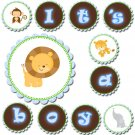 Its a boy or Happy Birthday Printable Banner Jungle Safari Zoo - Baby Shower Blue