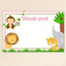 Printable Jungle Animals White Blank Thank you card