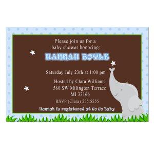 Printable Baby Boy Shower Blue Elephant Invitations - Also Birthday