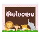 Welcome Sign Jungle Pink - Baby Shower or Birthday Party Decoration