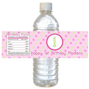25 Personalized Pink Green Polka Dots Baby Girl Shower or Birthday Bottle Wrappers