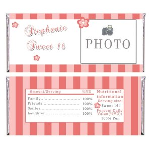 Printable Personalized Coral Stripes Candy Bar Wrapper - Birthday Party Baby Shower