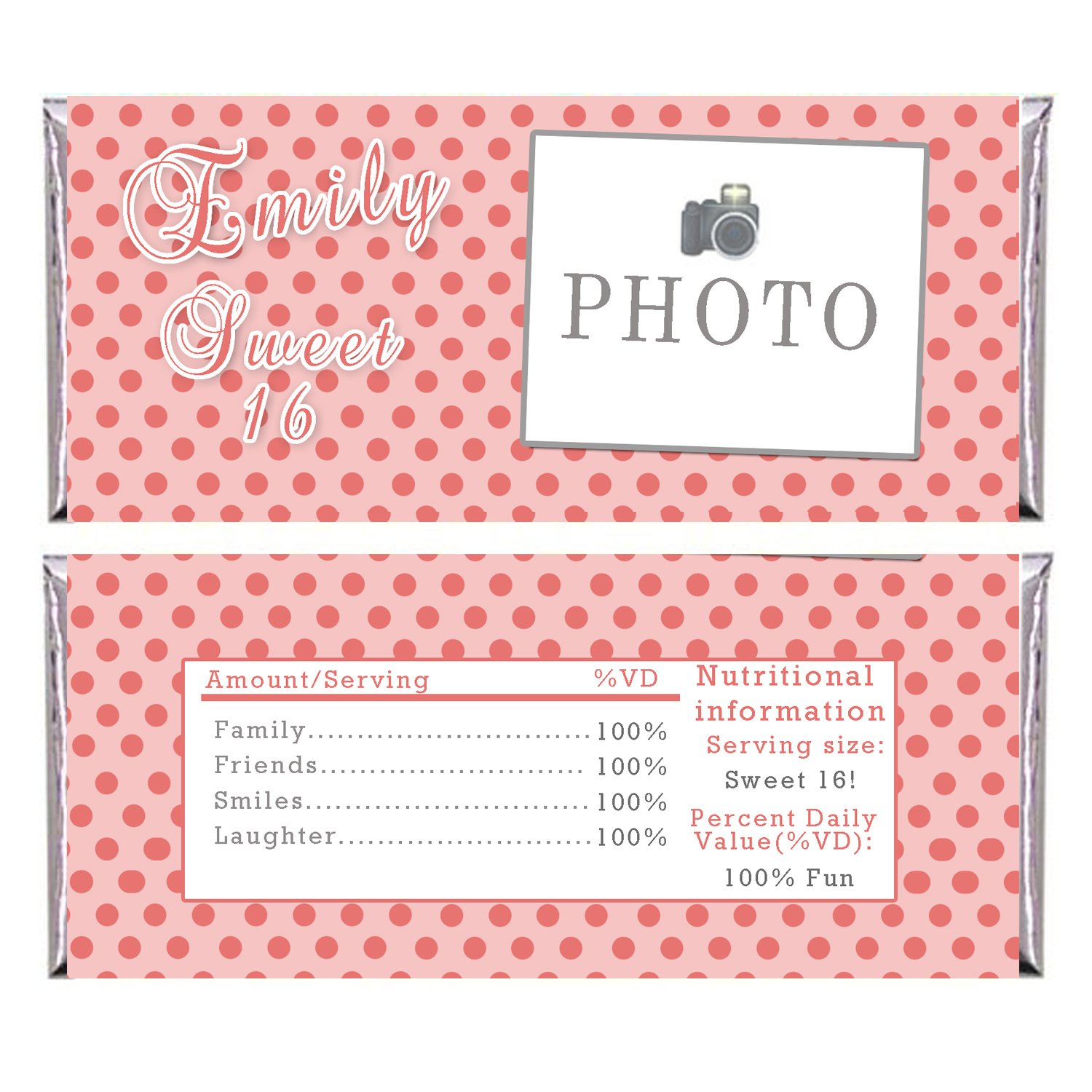 Printable Personalized Coral Polka Dots Candy Bar Wrapper