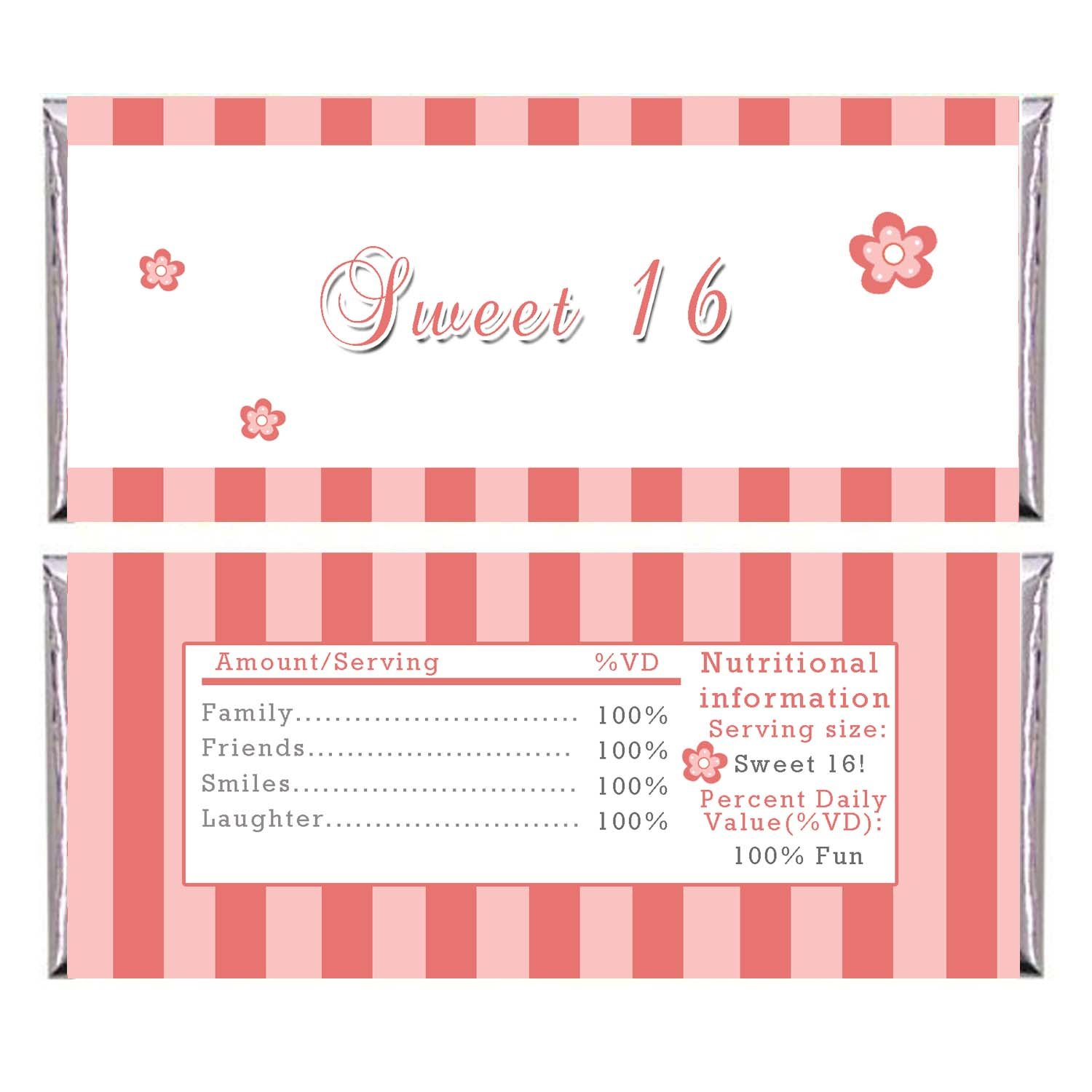 Printable coral stripes candy bar wrapper sweet 16 birthday for Personalized chocolate wrappers template