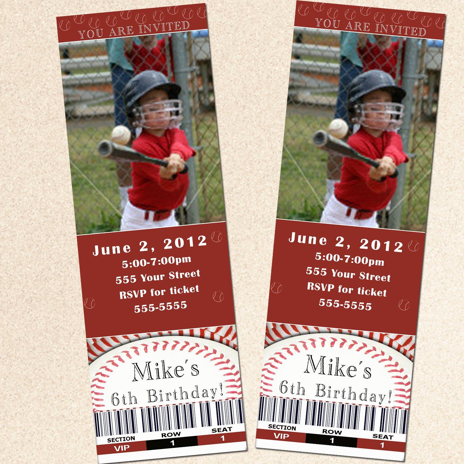 Printable Baseball Sports Photo Birthday Party Ticket Invitations ...