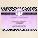 Printable Baby Girl Shower Purple Zebra Violet Feet Treads Invitations Cards