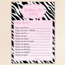 Printable Zebra Wishes for Baby Card - Baby Shower Girl Pink Custom Cute Adorable