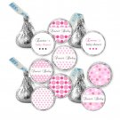 Printable Candy Sticker Print DIY Labels Tags Magnets Buttons Stickers Pink Polka Dots Hershey Kiss