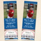 Printable Baseball Sports Photo Birthday Party Ticket Invitations Boy Baby Shower Birthday