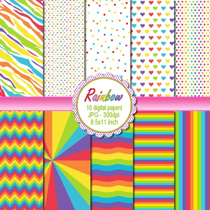Rainbow Clipart Digital Printable Background Paper Graphics
