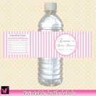 Printable Personalized Pink Stripes Photo Water Bottle Labels Wrappers - Baby Shower girl