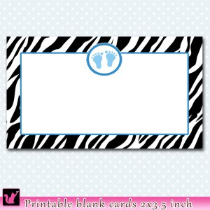 Printable Baby Shower Birthday Announcement Zebra Feet Cards Tags Blue
