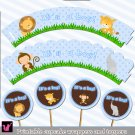 Printable Jungle Cupcake Toppers Baby Boy Shower or Birthday