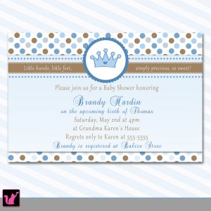 30 Prince Crown Party Invitations Birthday Baby Boy Shower Blue