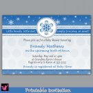 Printable Personalized Winter Wonderland Snowflake Baby Boy Shower Birthday Party Invitations