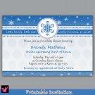 Printable Personalized Winter Wonderland Snowflake Baby Boy Shower Birthday Party Invitations