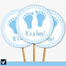 Printable Cupcake Toppers Tags Stickers Baby Boy Shower Checkered Blue Gingham