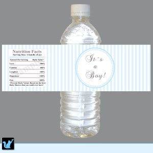 Printable Blue Stripes Lines Water Bottle Labels Wrappers Its a boy or Happy Birthday