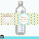 Printable Personalized Blue Green Brown Polka Bottle Labels Wrappers