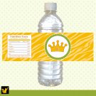 Printable Personalized Jungle Safari Zebra Yellow Water Bottle Labels Wrappers
