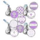 Candy Stickers - Printable Baby Baptism Purple Polka Dots