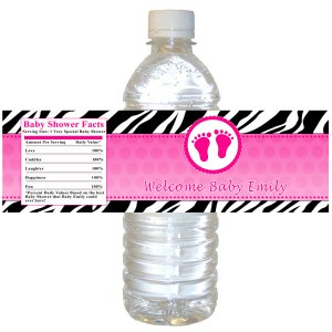 25 Personalized Hot Pink Baby Shower Bottle Water Labels Wrappers Stickers