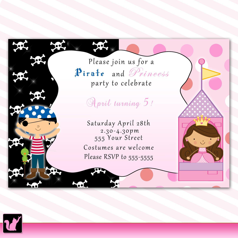 Pirate Fairy Princess Birthday Party Invitations Polka Dots Girl ...
