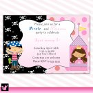 Printable Pirate Fairy Princess Birthday Party Invitations Polka Dots Girl Baby Print Yourself