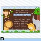 Jungle Invitations Baby Shower Birthday Blue Boy - DIY Print Yourself Safari Zoo