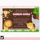 Jungle Invitations Baby Shower Birthday Pink Girl - DIY Print Yourself Safari Zoo