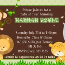 Cute! 30 Printed Baby Girl Shower Birthday Jungle Invitations - Safari Zoo