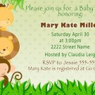 Cute! 30 Printed Baby Shower Birthday Jungle Invitations - Safari Zoo Green