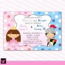 30 Knight Fairy Princess Birthday Party Invitations Polka Dots Girl Baby