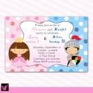 Printable Knight Fairy Princess Birthday Party Invitations Polka Dots Girl Baby Print Yourself