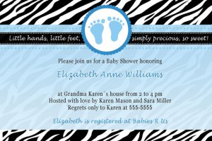 Printable Baby Boy Shower Blue Zebra Feet Treads Invitations Cards