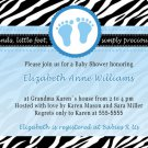 Cute! 10 Printed Baby Shower Jungle Zebra Invitations Boy - Blue Safari Zoo