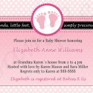Printable Baby Boy Shower Pink Polka Dots Feet Treads Invitations Cards