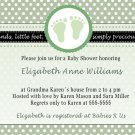 Printable Baby Boy Shower Green Polka Dots Feet Treads Invitations Cards