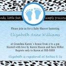Printable Baby Boy Shower Blue Leopard Feet Treads Invitations Cards