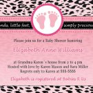 Printable Baby Boy Shower Pink Leopard Feet Treads Invitations Cards