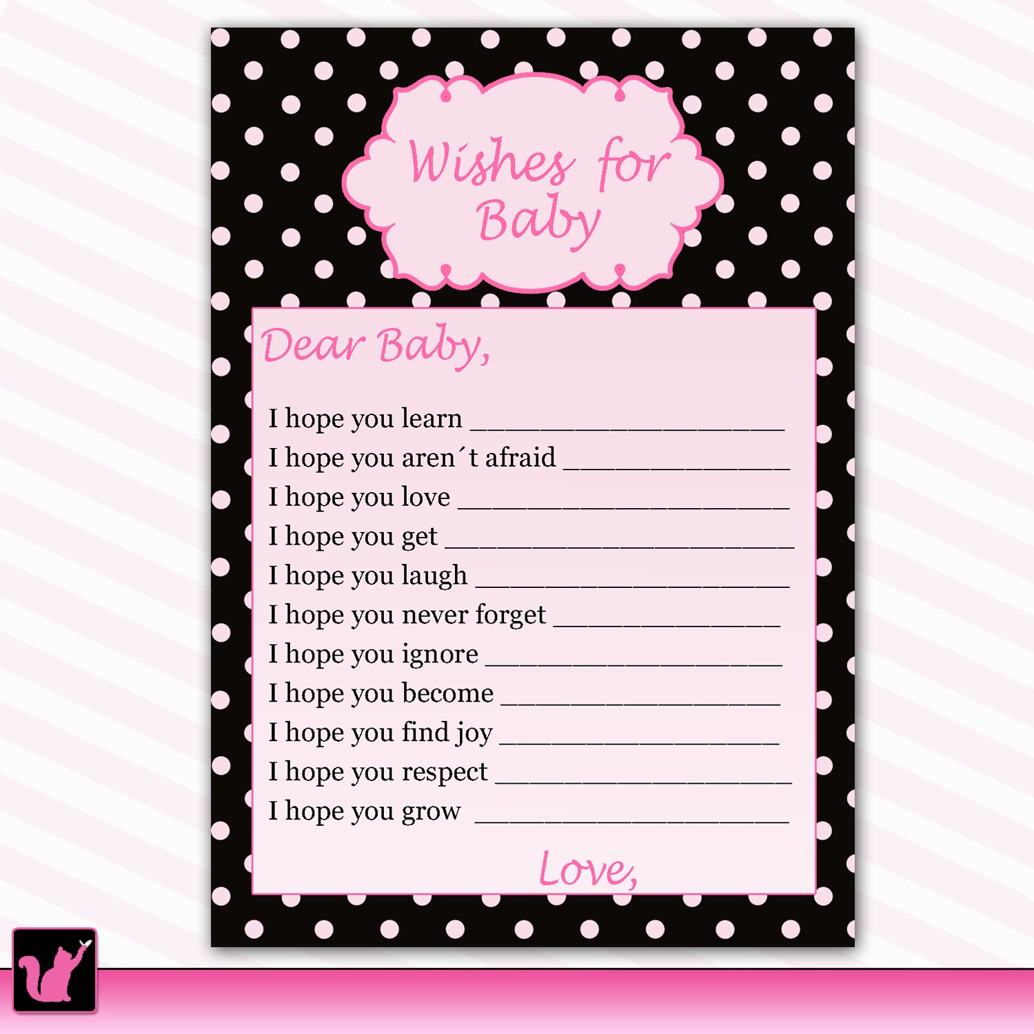 Printable Polka Dots Wishes for Baby Card - Baby Shower Girl Hot Pink Black Custom