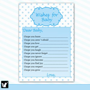 Printable Polka Dots Wishes for Baby Card - Baby Shower Girl Blue White Custom