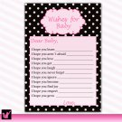 30 Polka Dots Wishes for Baby Card - Baby Shower Hot Pink Girl Custom Cute Adorable