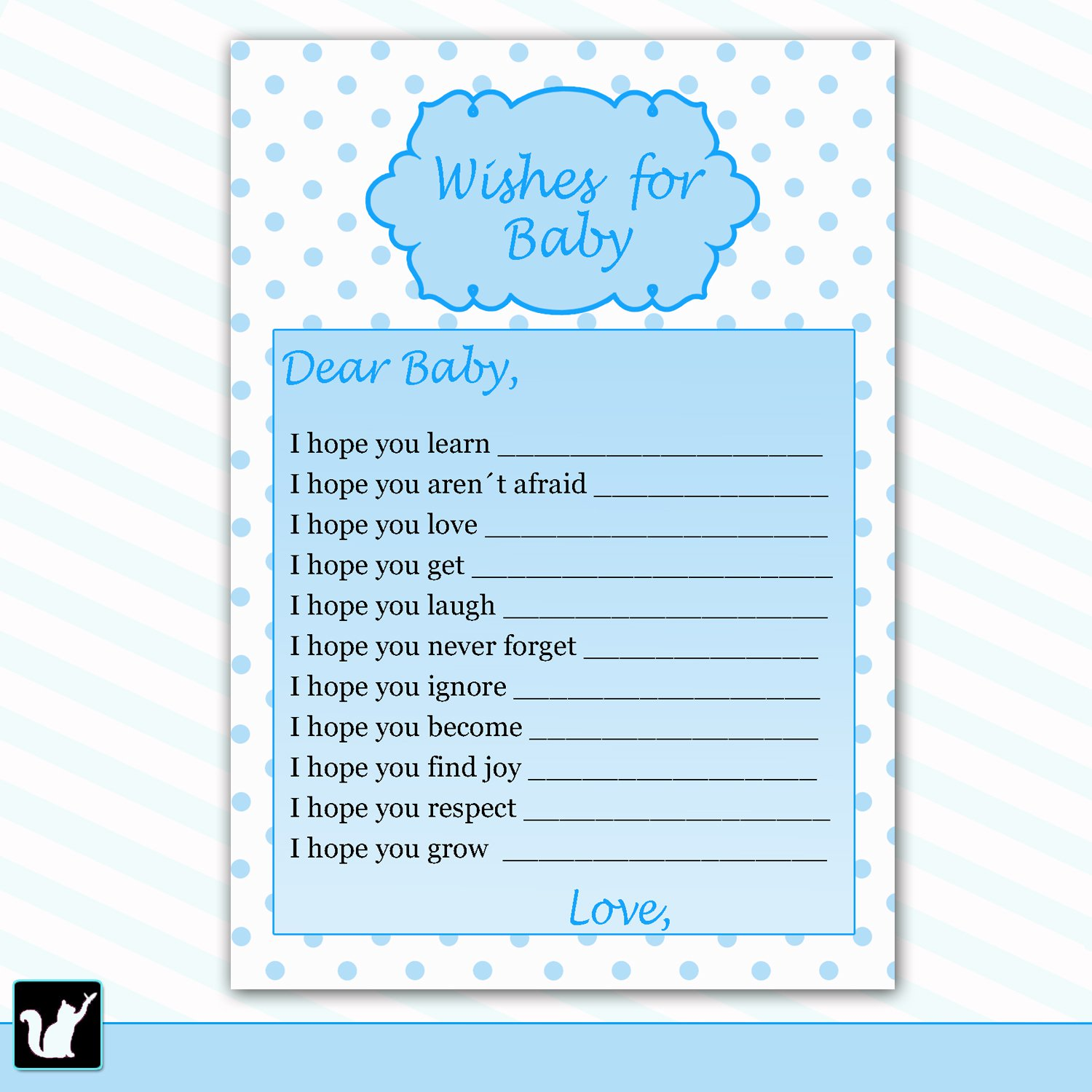 30 Polka Dots Wishes For Baby Card Baby Shower Blue White Boy