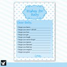 30 Polka Dots Wishes for Baby Card - Baby Shower Blue White Boy Custom Cute Adorable