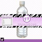 Printable Personalized Zebra Purple Violet Water Bottle Labels Wrappers