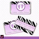 90 Baby Feet Zebra Mini Candy Wrapper - Baptism Baby Shower
