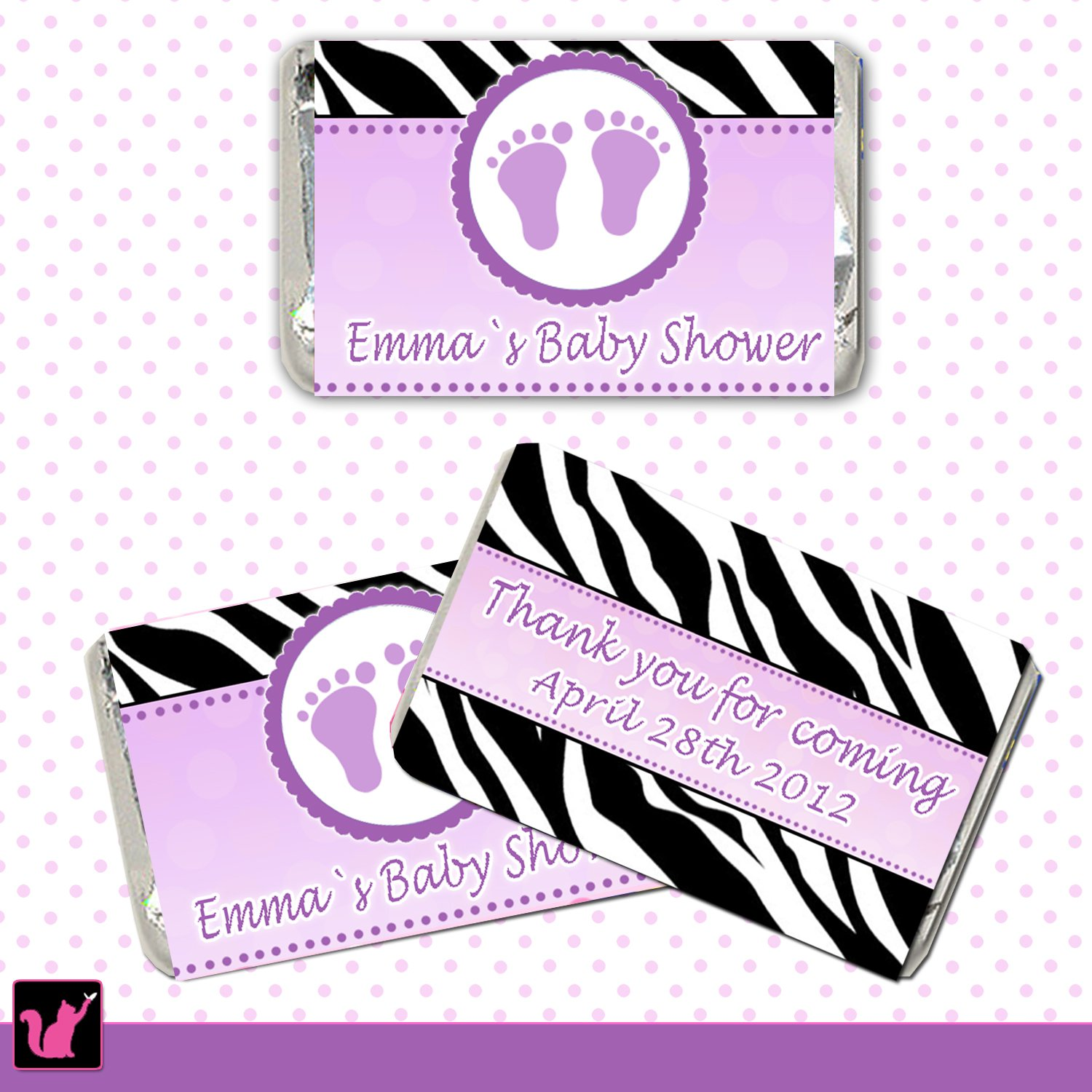 Printable Personalized Baby Feet Purple Mini Candy Wrapper - Birthday Party Baby Shower