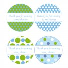 Printable Thank You Tags Stickers Baby Boy Shower Polka Dots Blue Green