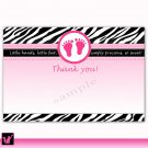 Printable Baby Shower Blank Thank you Card Note Hot Pink White Black Zebra